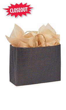 Large Blue Gingham Paper Shopping Bags - Case of 25
