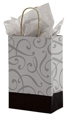Small Black and Silver Swirl Paper Shopping Bags - Case of 100