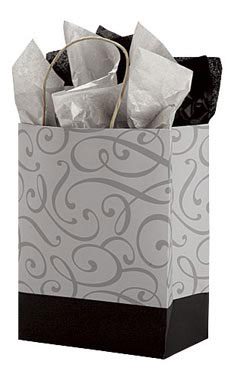 Medium Black and Silver Swirl Paper Shopping Bags - Case of 100