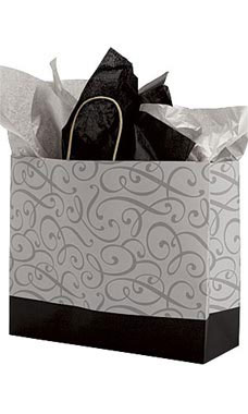 Large Black and Silver Swirl Paper Shopping Bags - Case of 100