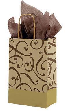 Small Chocolate and Kraft Swirl Paper Shopping Bags - Case of 100