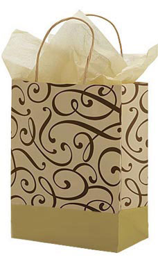 Medium Chocolate and Kraft Swirl Paper Shopping Bags - Case of 100