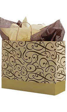 Large Chocolate and Kraft Swirl Paper Shopping Bags - Case of 100
