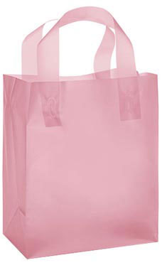 "Pink Frosted Plastic Shopping Bags- 8""x 5""x 10"" -100 Count"