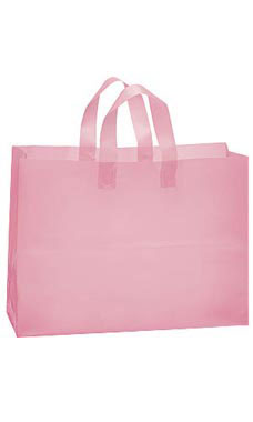 Large Pink Frosted Plastic Shopping Bags - Case of 100