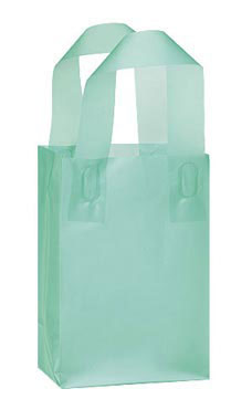 Small Aqua Frosted Shopping Bags - Case of 100