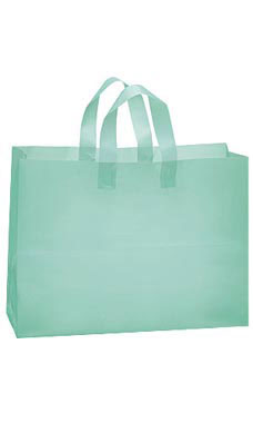 Large Aqua Frosted Shopping Bags - Case of 100