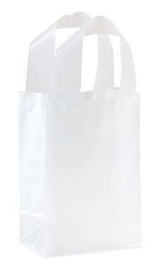 Small Clear Frosted Plastic Shopping Bags - Case of 100