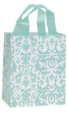 Medium Aqua Damask Frosted Shopping Bags - Case of 100