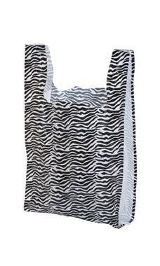 Medium Zebra Print Plastic T-Shirt Bags - Case of 500