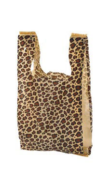 Small Leopard Print Plastic T-Shirt Bags - Case of 1,000