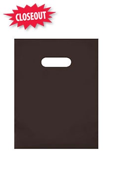 Small Chocolate Brown Frosted Plastic Merchandise Bags - Case of 250