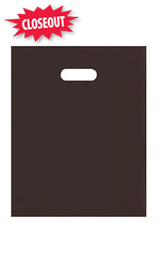 Medium Chocolate Brown Frosted Plastic Merchandise Bag