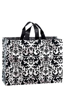 Large Black Damask Frosted Plastic Shopping Bags - Case of 100
