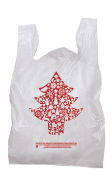 Medium Red Tree Holiday T-Shirt Bags - Case of 500