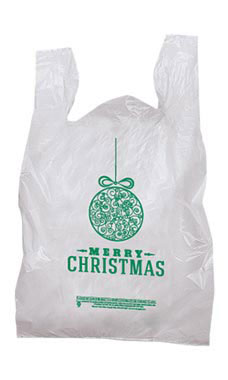 Medium Green Ball Holiday T-Shirt Bags - Case of 500