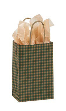 Small Green Gingham Paper Shopping Bags - Case of 25