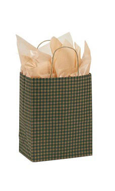 Medium Green Gingham Paper Shopping Bags - Case of 100