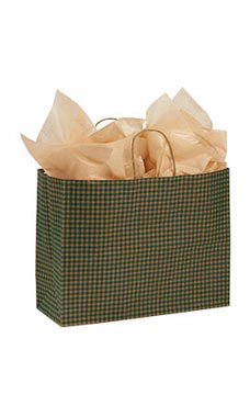 Large Green Gingham Paper Shopping Bags - Case of 100