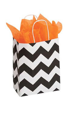 Medium Classic Chevron Paper Shopping Bags - Case of 100
