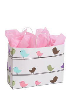 Large Little Birdies Paper Shopping Bags - Case of 100