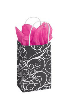 Small Elegant Swirl Paper Shopping Bags - Case of 100