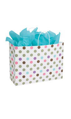 Large Playful Polkadot Paper Shopping Bags - Case of 100