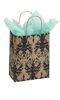 Medium Distressed Damask Paper Shopping Bags - Case of 100