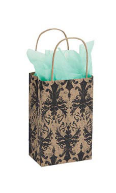 Small Distressed Damask Paper Shopping Bags - Case of 100
