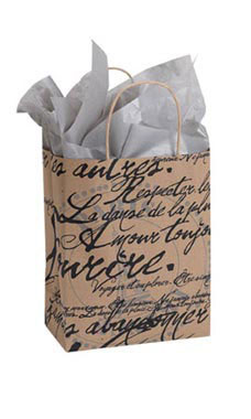 Medium Paris Script Paper Shopping Bags - Case of 100