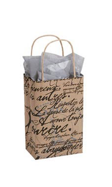Small Paris Script Paper Shopping Bags - Case of 100