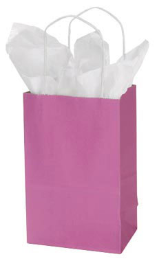 Small Magenta Paper Shopping Bags - Case of 25