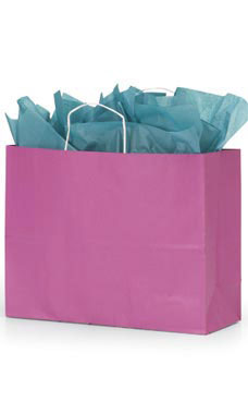 Large Magenta Paper Shopping Bags - Case of 25