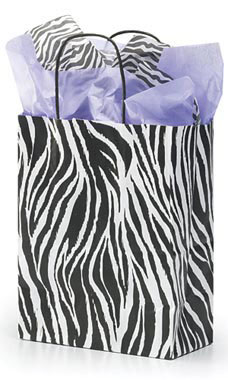 Medium Zebra Skin Paper Shopping Bags - Case of 25