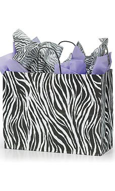 Large Zebra Skin Paper Shopping Bags - Case of 25