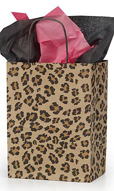 Medium Brown Leopard Paper Shopping Bags - Case of 25
