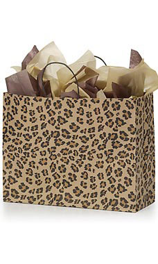 Large Brown Leopard Paper Shopping Bags - Case of 25