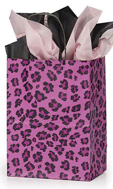 Medium Pink Leopard Paper Shopping Bags - Case of 25