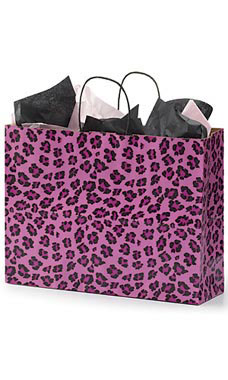 Large Pink Leopard Paper Shopping Bags - Case of 25