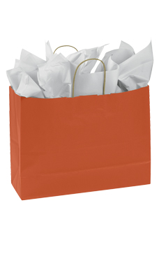 Large Burnt Orange Paper Shopping Bags - Case of 25