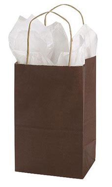 Small Chocolate Paper Shopping Bags - Case of 25