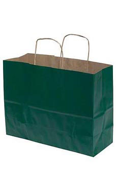 Large Hunter Green Paper Shopping Bags - Case of 25