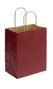 Medium Brick Red Paper Shopping Bags - Case of 25
