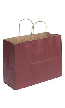 Large Brick Red Paper Shopping Bags - Case of 25
