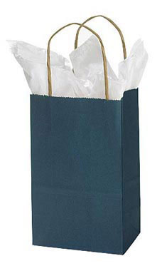 Small Navy Blue Paper Shopping Bags - Case of 25