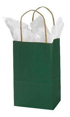 Small Hunter Green Paper Shopping Bags - Case of 25