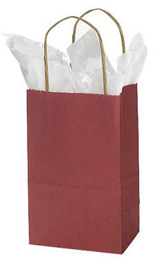 Small Brick Red Paper Shopping Bags - Case of 25