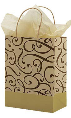 Medium Chocolate and Kraft Swirl Paper Shopping Bags - Case of 25