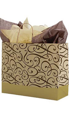Large Chocolate and Kraft Swirl Paper Shopping Bags - Case of 25