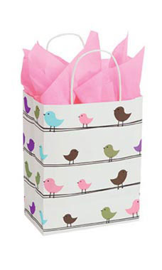Medium Little Birdies Paper Shopping Bags - Case of 25
